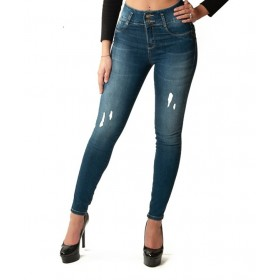 Ripped push-up jeans, dark denim