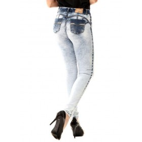 Brazilian faded push-up jeans with Sawary rhinestones