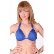 Blue bikini bra with molded cups