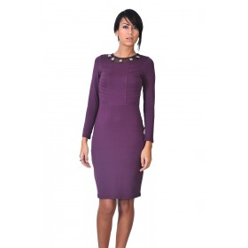 Sheath dress with tulle and applications